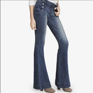 Express Mid Rise Bell Flare Jeans NWT